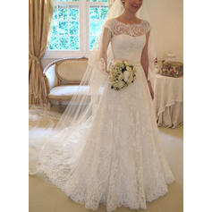 A-Line/Princess Lace Sleeveless Scoop Square Court Train Wedding Dresses (002147868)