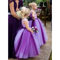 Ball Gown Square Neckline Ankle-length With Bow(s) Satin/Tulle Flower Girl Dresses