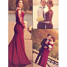 Trumpet/Mermaid Sweetheart Floor-Length Prom Dresses With Appliques Lace