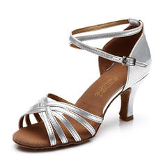 Women's Latin Heels Sandals Satin Leatherette With Ankle Strap Hollow-out Dance Shoes