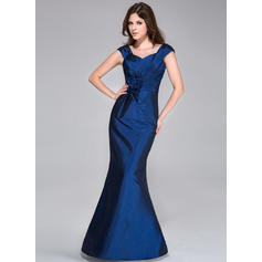 Trumpet/Mermaid Sweetheart Floor-Length Bridesmaid Dresses With Ruffle Flower(s) (007198083)