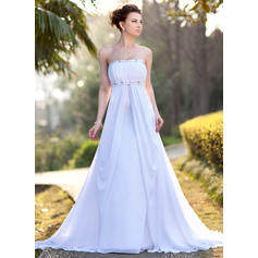 Empire Chiffon Strapless Court Train Wedding Dresses (002001417)