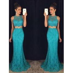 Princess Lace Evening Dresses Trumpet/Mermaid Sweep Train Detachable Scoop Neck Sleeveless