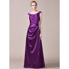 A-Line/Princess Charmeuse Bridesmaid Dresses Ruffle Off-the-Shoulder Sleeveless Floor-Length
