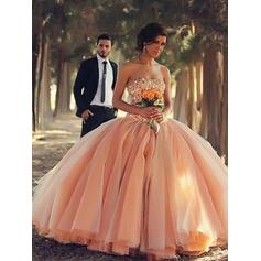 Ball-Gown Organza Prom Dresses Beading Strapless Sleeveless Floor-Length (018210222)