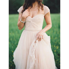 A-Line/Princess Sweetheart Floor-Length Prom Dresses With Ruffle