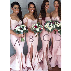 Trumpet/Mermaid Sweetheart Off-the-Shoulder Sweep Train Bridesmaid Dresses With Split Front (007144986)
