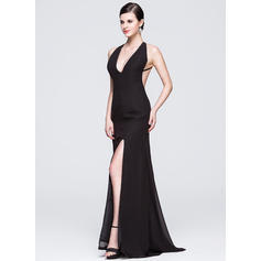 Sheath/Column V-neck Sweep Train Evening Dresses With Split Front (017014068)