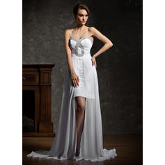 A-Line/Princess Sweetheart Asymmetrical Prom Dresses With Ruffle Beading (018021112)