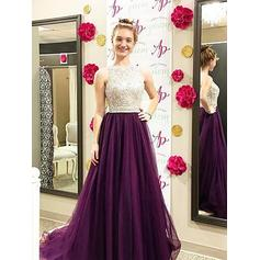 A-Line/Princess Tulle Prom Dresses Beading Scoop Neck Sleeveless Sweep Train