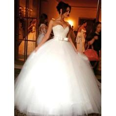 Ball-Gown Sweetheart Floor-Length Wedding Dresses With Beading Sequins Bow(s)