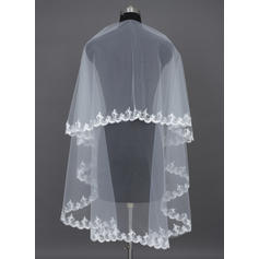 Elbow Bridal Veils Tulle One-tier Classic With Lace Applique Edge Wedding Veils