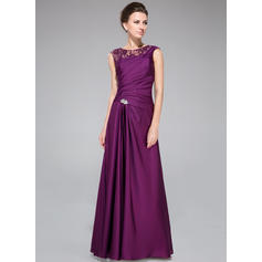 A-Line/Princess Lace Satin Chiffon Sleeveless Scoop Neck Floor-Length Zipper Up Mother of the Bride Dresses
