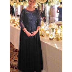 A-Line/Princess Tulle 3/4 Sleeves Scoop Neck Floor-Length Zipper Up Mother of the Bride Dresses
