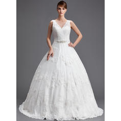 Ball-Gown Sweetheart Chapel Train Wedding Dresses With Beading Appliques Lace Sequins (002196831)