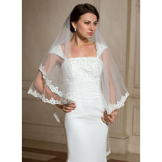 Waltz Bridal Veils Tulle One-tier Angel cut/Waterfall With Lace Applique Edge Wedding Veils