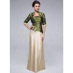 Sheath/Column Taffeta Sleeveless Strapless Floor-Length Zipper Up Mother of the Bride Dresses