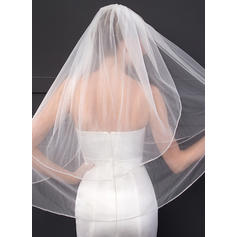Elbow Bridal Veils Two-tier Classic With Cut Edge With Rhinestones Wedding Veils