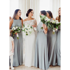 A-Line/Princess Chiffon Bridesmaid Dresses Cascading Ruffles Scoop Neck Sleeveless Floor-Length