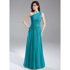 A-Line/Princess One-Shoulder Floor-Length Evening Dresses With Ruffle Beading Sequins (017015857)