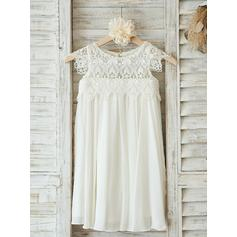 Luxurious Scoop Neck A-Line/Princess Flower Girl Dresses Knee-length Chiffon/Lace Sleeveless