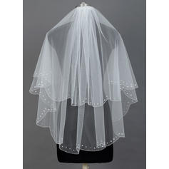 Elbow Bridal Veils Tulle Two-tier Classic With Pearl Trim Edge Wedding Veils