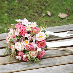 """Bridal Bouquets/Bridesmaid Bouquets Hand-tied Wedding/Party Satin 9.84""""(Approx.25cm) Wedding Flowers"""