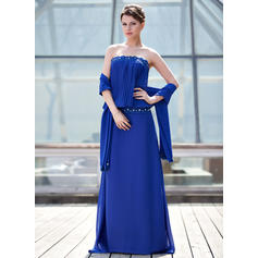 Sheath/Column Chiffon Sleeveless Strapless Sweep Train Zipper Up Mother of the Bride Dresses