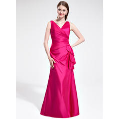 Trumpet/Mermaid Taffeta Bridesmaid Dresses Cascading Ruffles V-neck Sleeveless Floor-Length