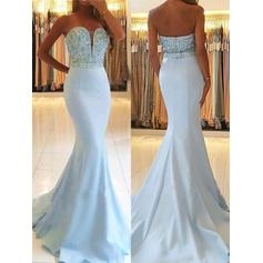 Trumpet/Mermaid Sweetheart Sweep Train Prom Dresses With Beading (018217893)