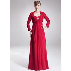 Empire Sweetheart Floor-Length Mother of the Bride Dresses With Ruffle Crystal Brooch