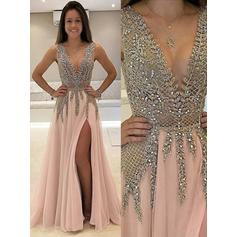 A-Line/Princess V-neck Floor-Length Evening Dresses With Beading Split Front