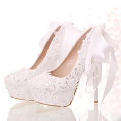 Women's Closed Toe Platform Pumps Stiletto Heel Leatherette With Bowknot Sequin Wedding Shoes