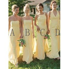 A-Line/Princess Sweetheart Halter Scoop Neck Square Neckline Floor-Length Bridesmaid Dresses With Ruffle