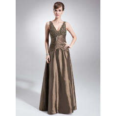 A-Line/Princess Taffeta Sleeveless V-neck Floor-Length Zipper Up Mother of the Bride Dresses (008005615)
