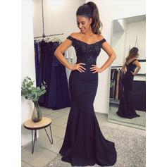 Fashion Satin Evening Dresses Trumpet/Mermaid Sweep Train Off-the-Shoulder Sleeveless