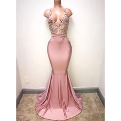 Trumpet/Mermaid V-neck Sweep Train Prom Dresses With Lace (018218622)