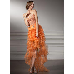 A-Line/Princess Sweetheart Asymmetrical Prom Dresses With Beading Cascading Ruffles (018021106)