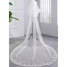 Chapel Bridal Veils Tulle Two-tier With Lace Applique Edge With Lace Wedding Veils