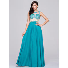 A-Line/Princess Chiffon Prom Dresses Beading Appliques Lace Sequins Scoop Neck Sleeveless Floor-Length (018210626)
