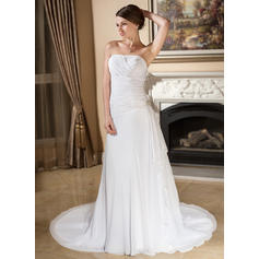 A-Line/Princess Sweetheart Court Train Wedding Dresses With Crystal Brooch Cascading Ruffles (002196872)
