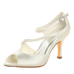 Women's Peep Toe Sandals Stiletto Heel Satin With Buckle Wedding Shoes