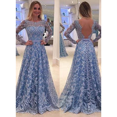 A-Line/Princess Sweep Train Prom Dresses Scoop Neck Lace Long Sleeves