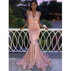 Trumpet/Mermaid Halter Sweep Train Prom Dresses With Appliques Lace (018218661)