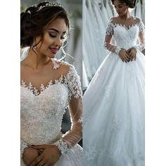 Ball-Gown Tulle Long Sleeves Scoop Cathedral Train Wedding Dresses (002147917)