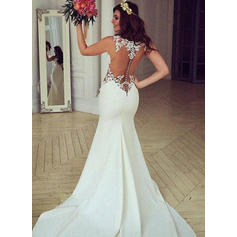 Trumpet/Mermaid Satin Sleeveless Scoop Chapel Train Wedding Dresses