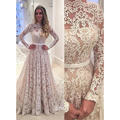 Simple Scalloped-Edge A-Line/Princess Wedding Dresses Court Train Lace Long Sleeves