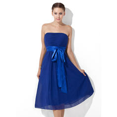 Empire Chiffon Bridesmaid Dresses Ruffle Sash Bow(s) Strapless Sleeveless Knee-Length