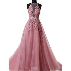 A-Line/Princess Tulle Prom Dresses Appliques Lace Halter Sleeveless Sweep Train