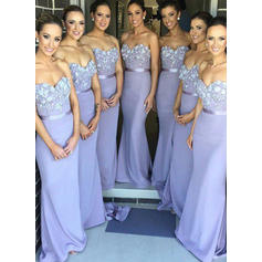 Trumpet/Mermaid Sweetheart Sweep Train Bridesmaid Dresses With Flower(s) (007145111)